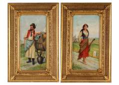 Antique PAIR of Gypsy Portrait Oil Painting FRAMED