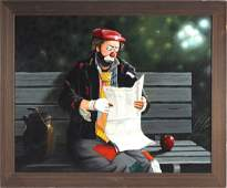 Thomas Kerry Clown On Bench Oil Painting LISTED