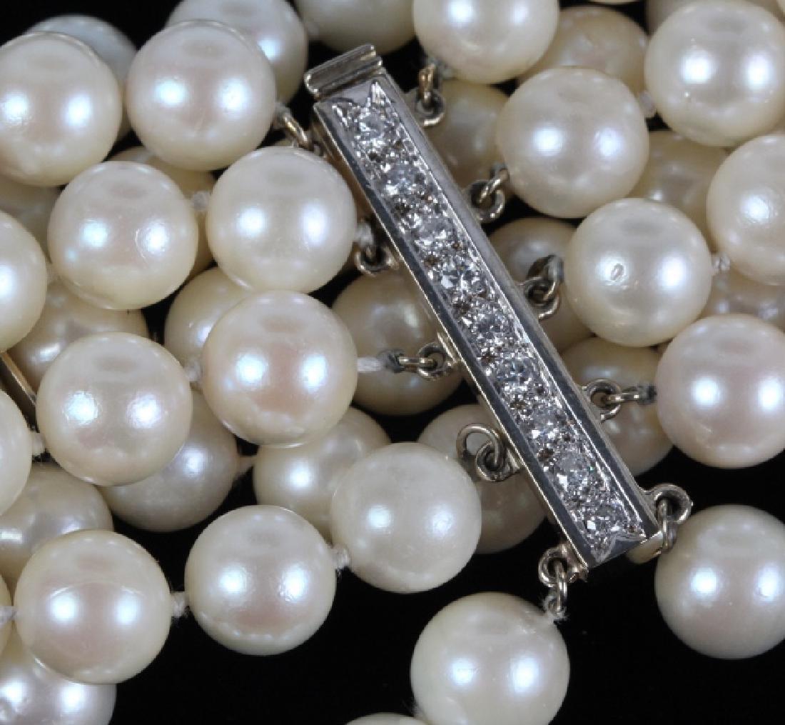 14k Gold Diamond & Akoya Pearl 5 Strand Bracelet - 2