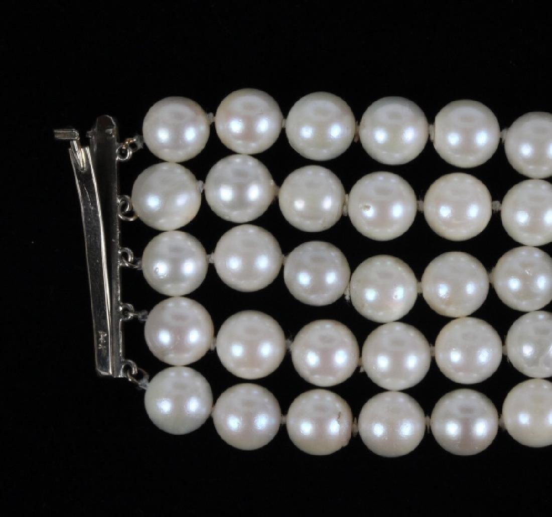 14k Gold Diamond & Akoya Pearl 5 Strand Bracelet - 6