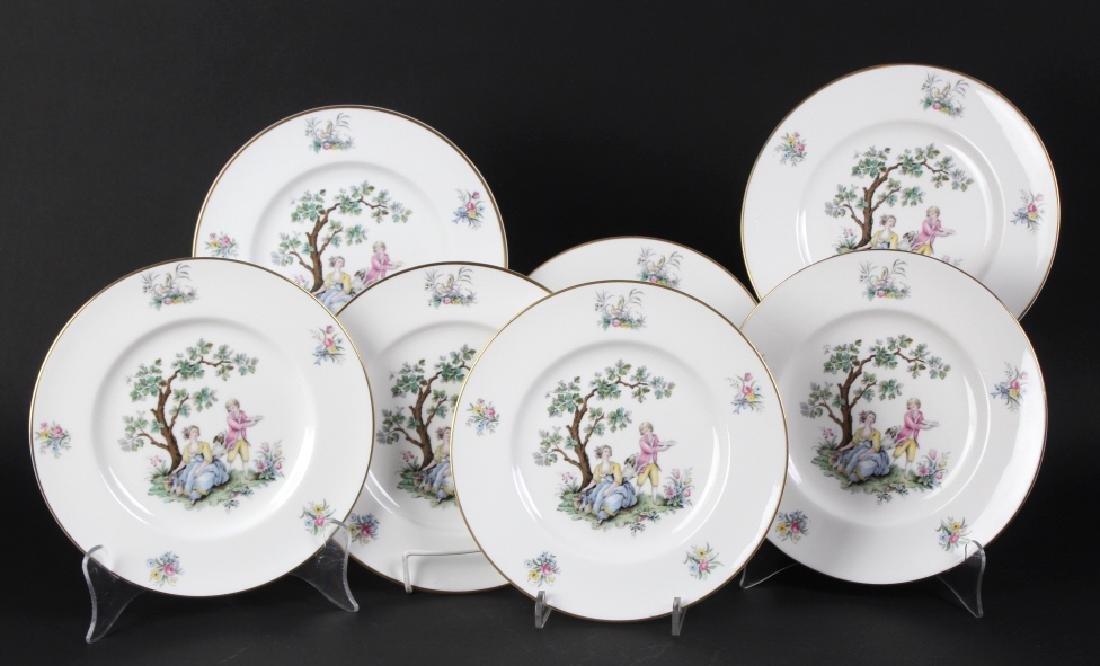 12 Royal Worcester Porcelain Watteau Dinner Plates