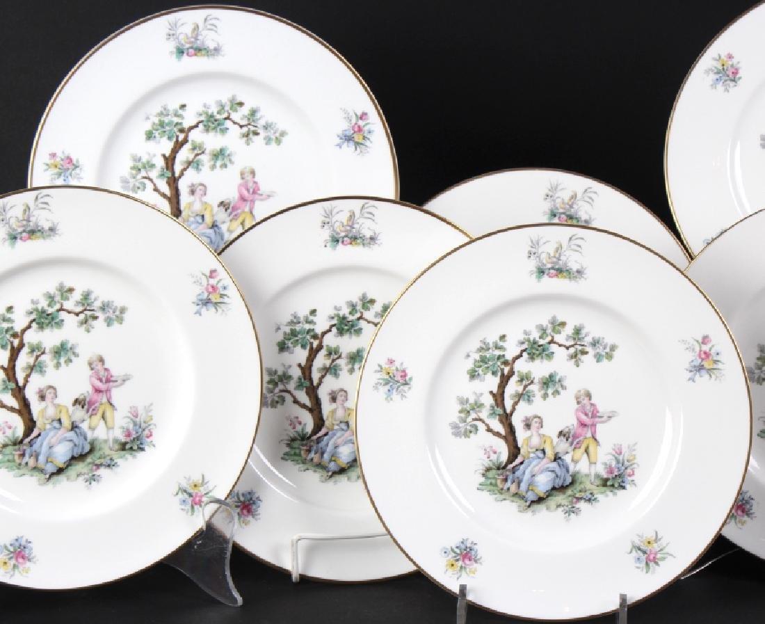 12 Royal Worcester Porcelain Watteau Dinner Plates - 2