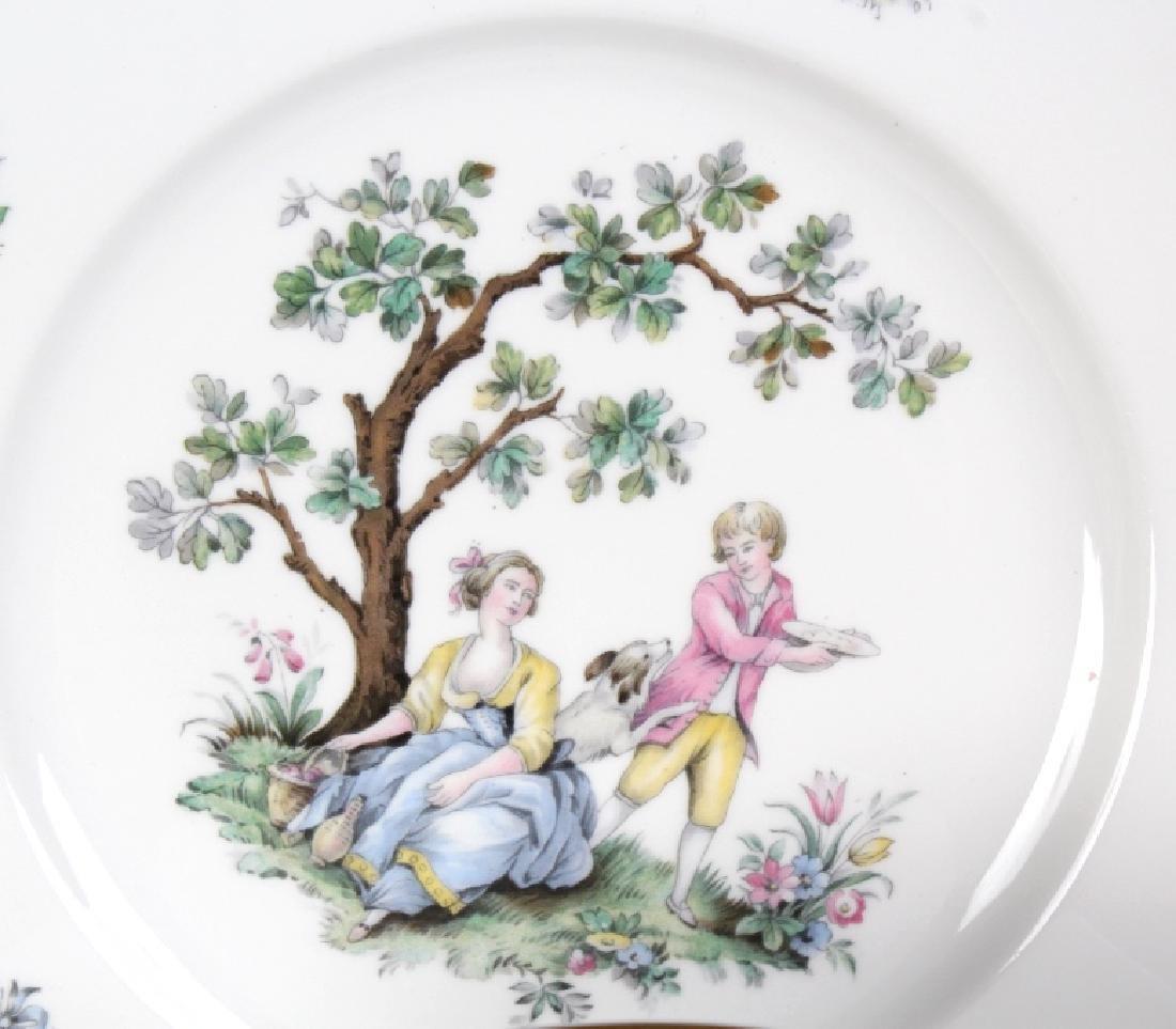 12 Royal Worcester Porcelain Watteau Dinner Plates - 3