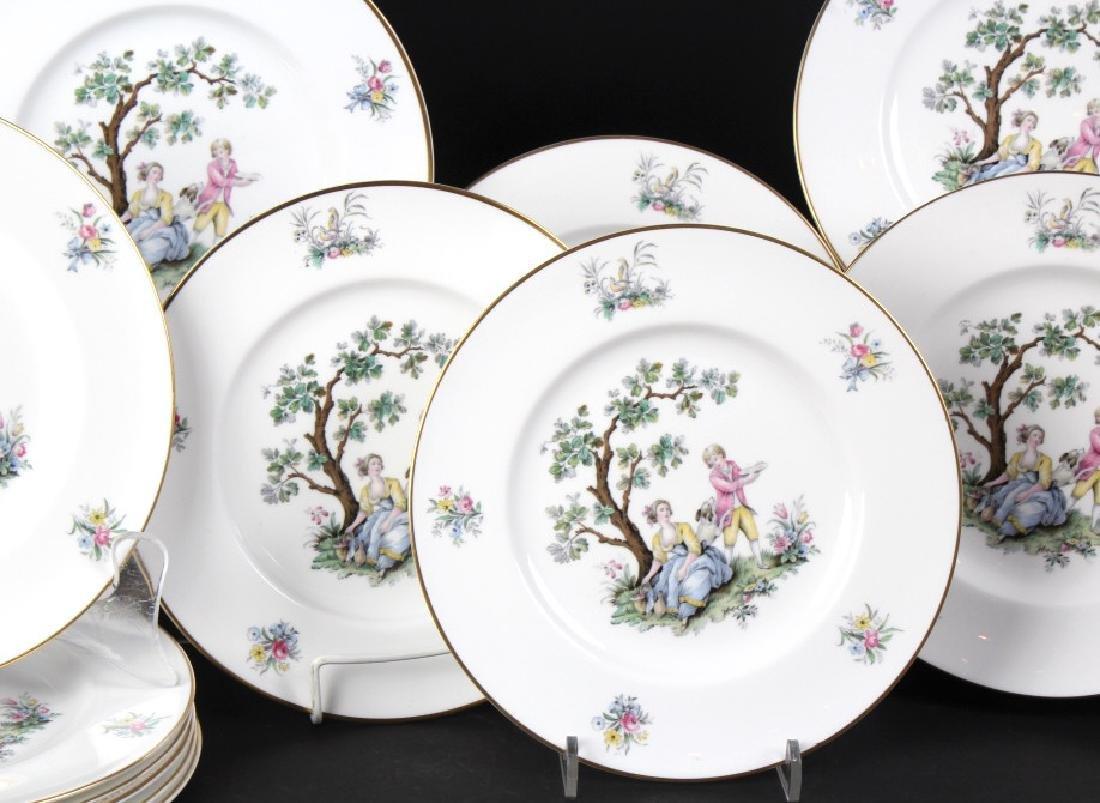 12 Royal Worcester Porcelain Watteau Dinner Plates - 5