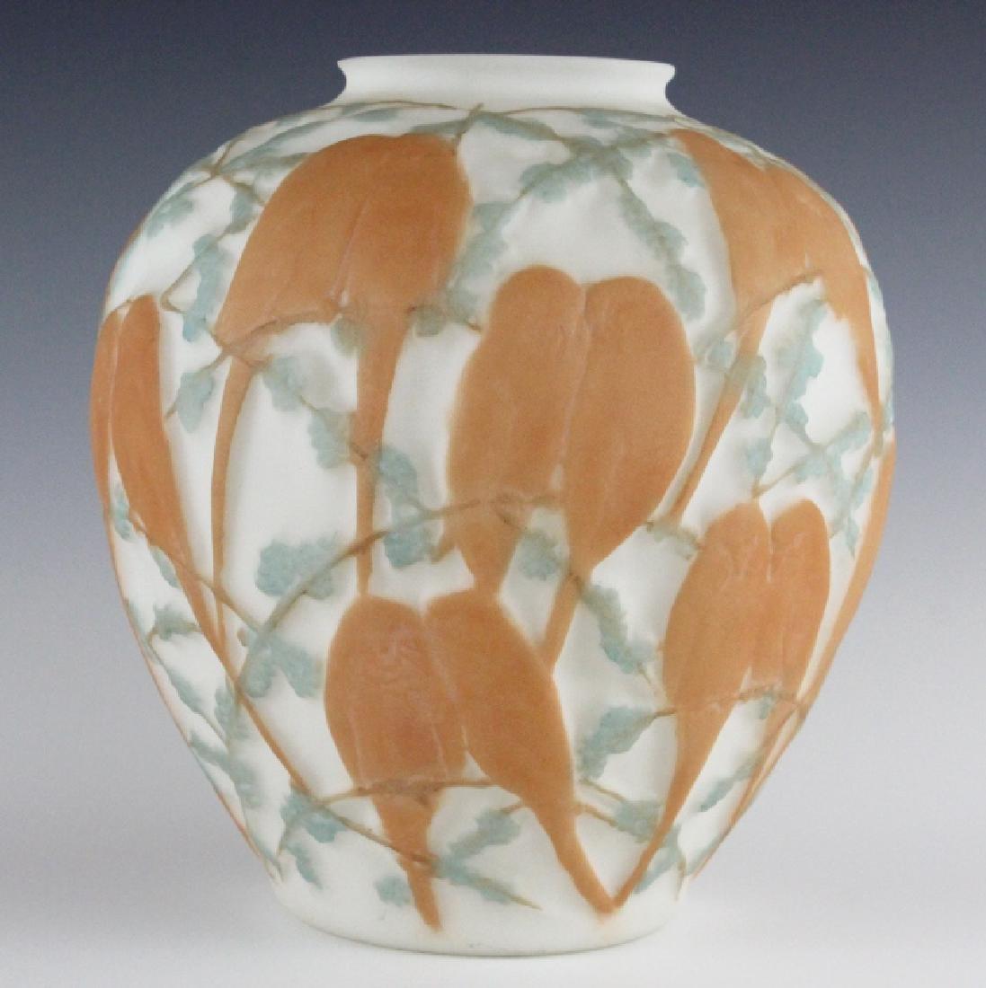 "Phoenix Consolidated Glass Love Birds Vase 10 1/2"""