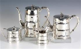 5pc Japanese Sterling Silver Bamboo Tea Set 1792g