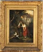 19th Century European Love Birds Fine Oil Painting