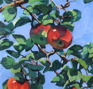 Jane Peterson Apples Tiffany Garden Oil Painting