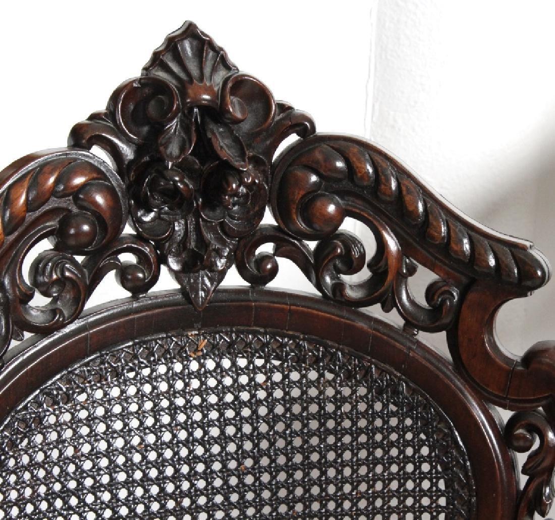 PAIR Meeks Stanton Laminated Ornate Carved Chairs - 10