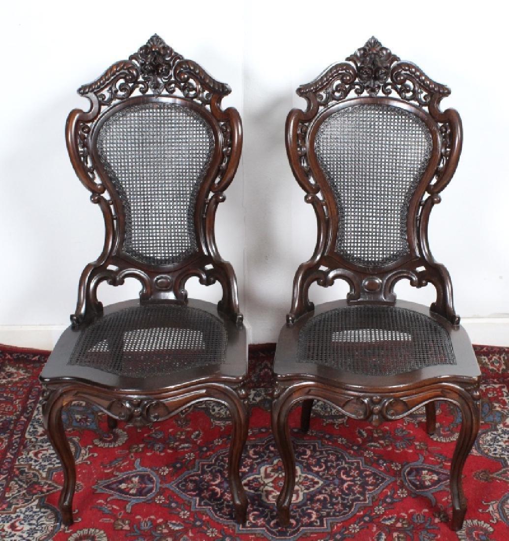 PAIR Meeks Stanton Laminated Ornate Carved Chairs