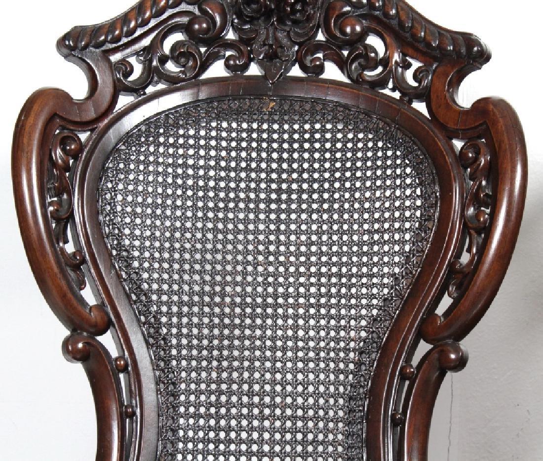 PAIR Meeks Stanton Laminated Ornate Carved Chairs - 2