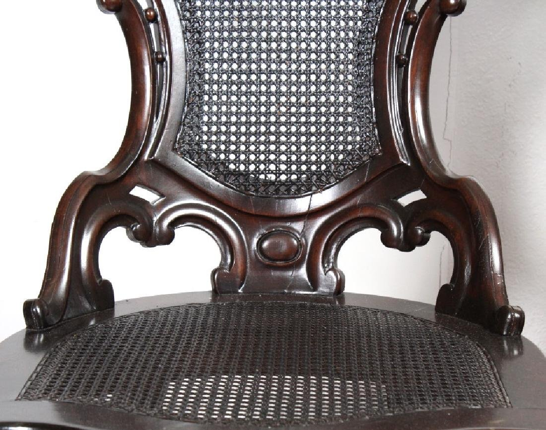PAIR Meeks Stanton Laminated Ornate Carved Chairs - 3