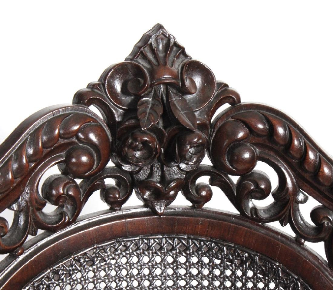 PAIR Meeks Stanton Laminated Ornate Carved Chairs - 9