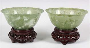 Pair Chinese Semitranslucent Green Jade Bowl Cups
