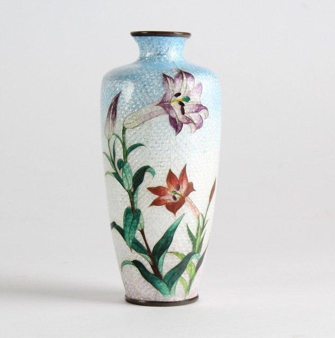 Vintage Japanese Cloisonne Enamel Floral Bud Vase