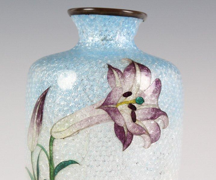 Vintage Japanese Cloisonne Enamel Floral Bud Vase - 2
