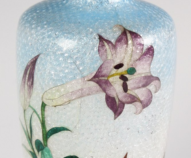 Vintage Japanese Cloisonne Enamel Floral Bud Vase - 5