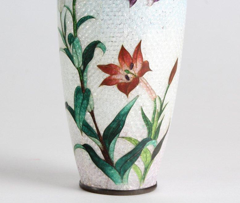 Vintage Japanese Cloisonne Enamel Floral Bud Vase - 6