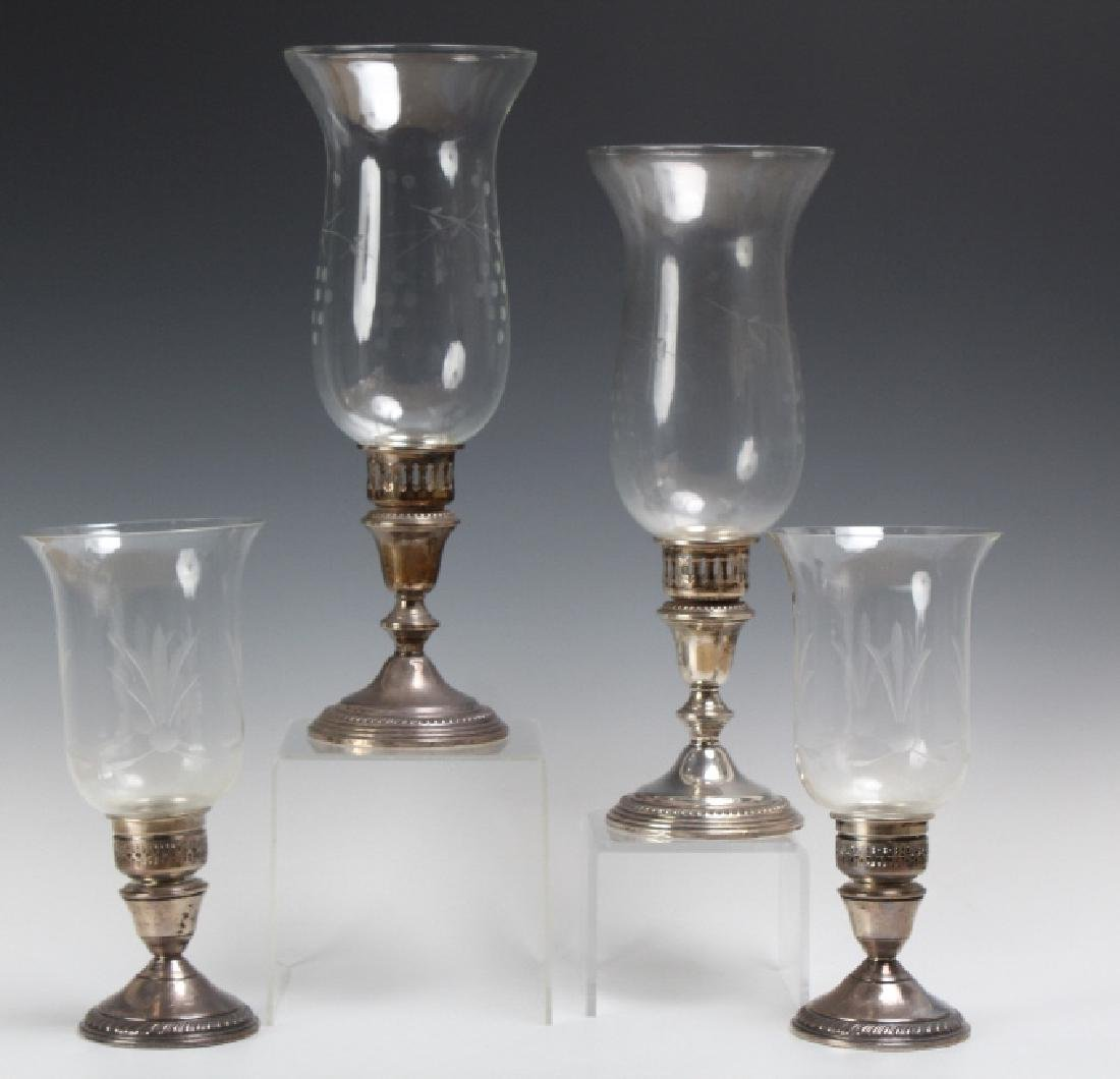 PAIR of Sterling Silver Hurricane Candlesticks