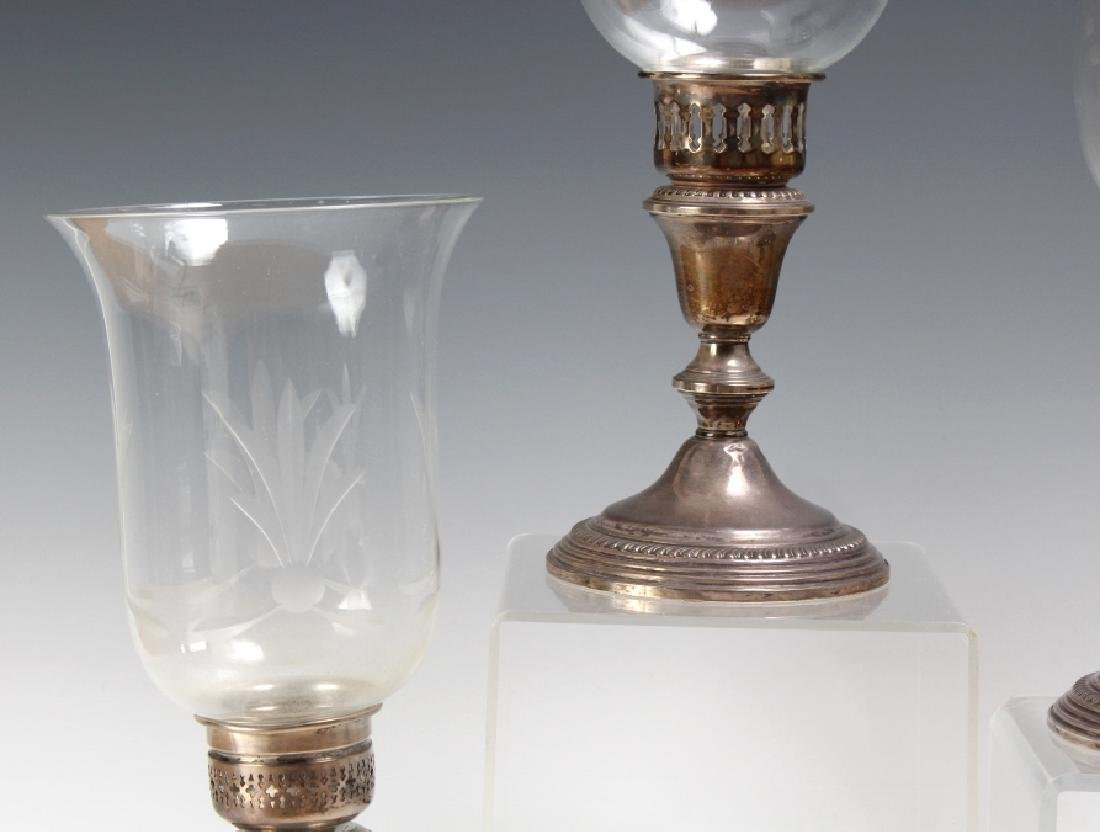 PAIR of Sterling Silver Hurricane Candlesticks - 3