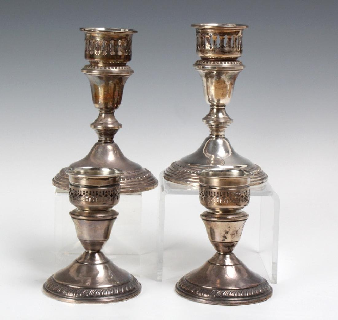 PAIR of Sterling Silver Hurricane Candlesticks - 5