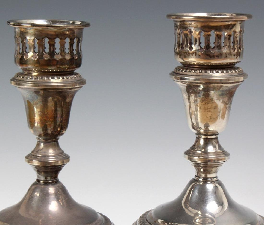 PAIR of Sterling Silver Hurricane Candlesticks - 6