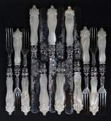 English Sterling Silver Mother of Pearl Fish Set
