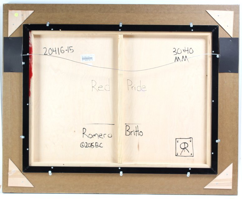 Romero BRITTO RED PRIDE Original Painting On Panel - 7