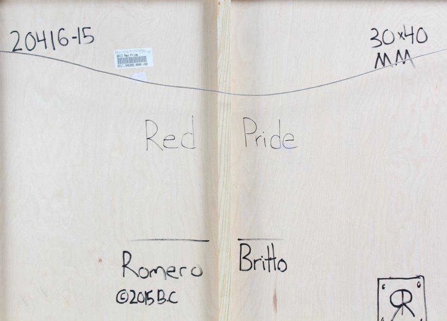Romero BRITTO RED PRIDE Original Painting On Panel - 8
