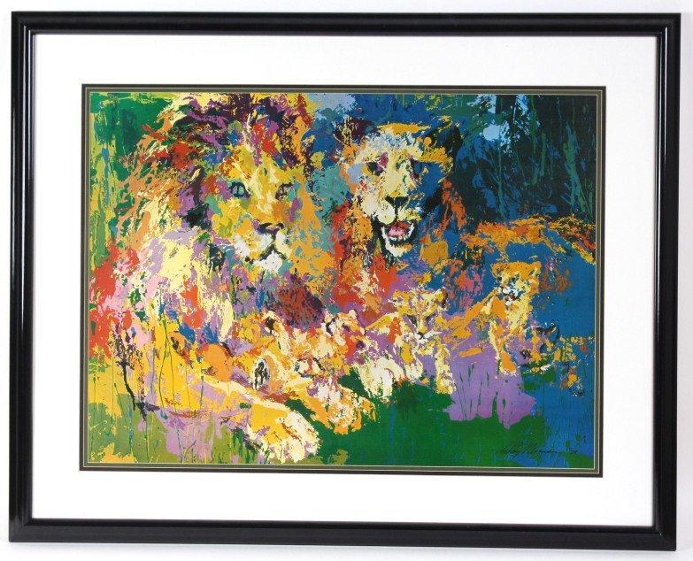Leroy Neiman Lion Lioness Cubs, Family Print