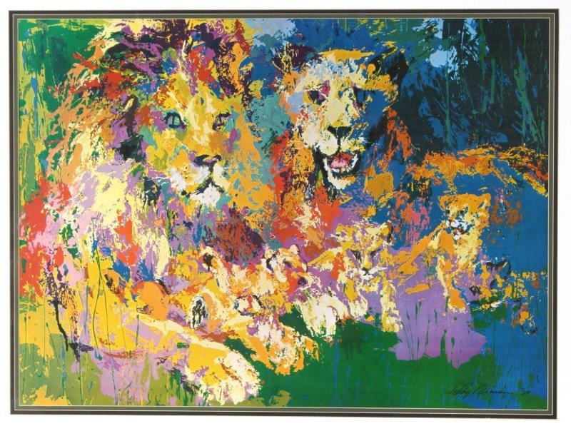 Leroy Neiman Lion Lioness Cubs, Family Print - 2