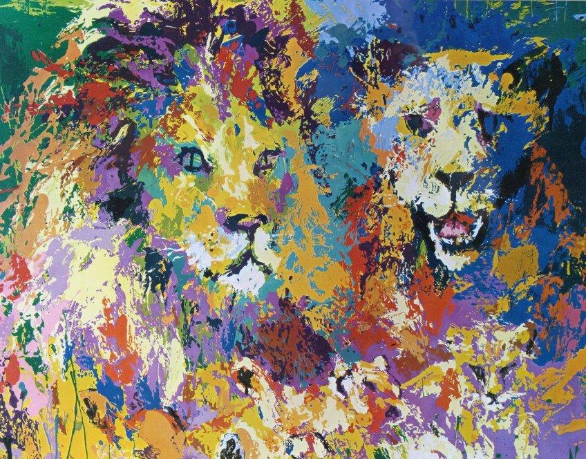 Leroy Neiman Lion Lioness Cubs, Family Print - 3