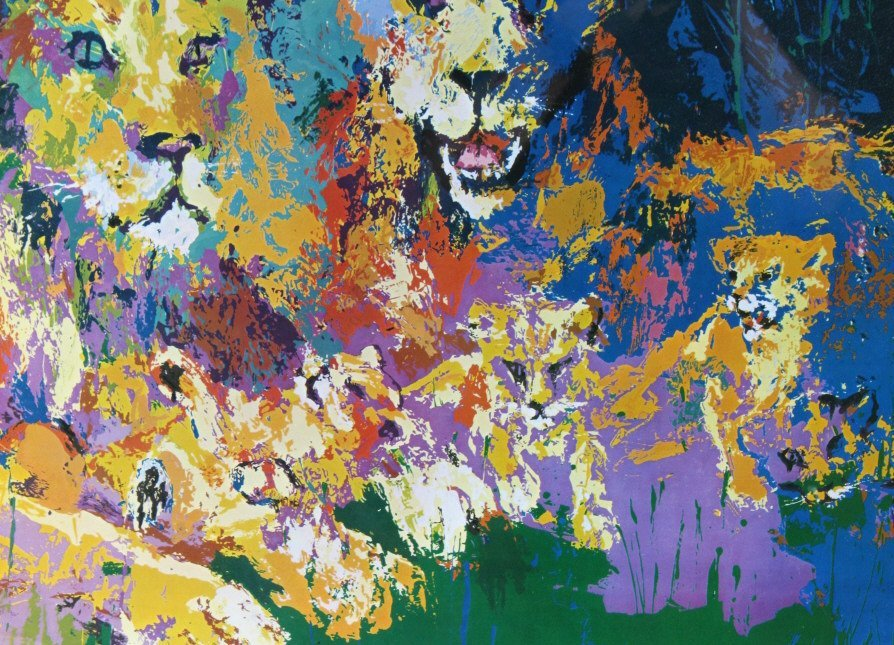 Leroy Neiman Lion Lioness Cubs, Family Print - 4