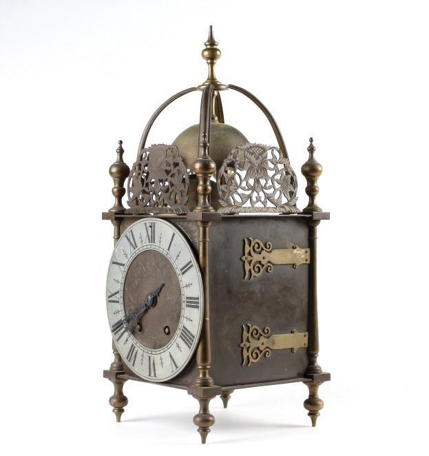 Antique Tiffany & Co French Brass Lantern Clock
