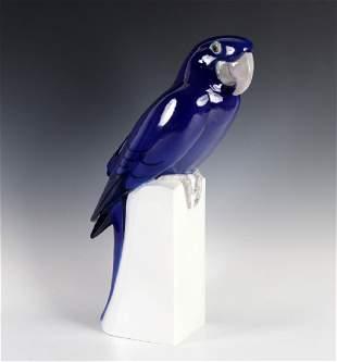 Bing & Grondahl Blue Macaw Porcelain Statue LARGE