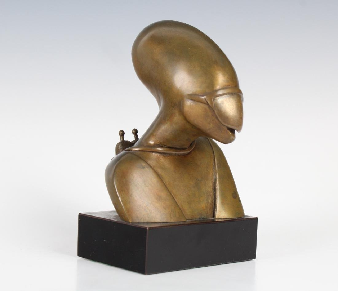 Signed M Sherrill Modernist Bronze Alien Sculpture