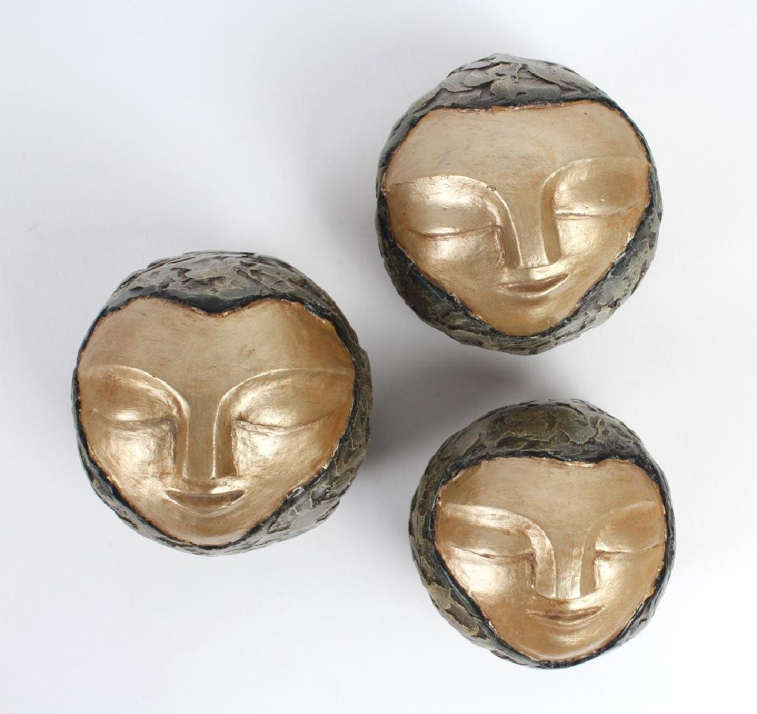3 Graduated Artist Signed Modernist Face Sculpture