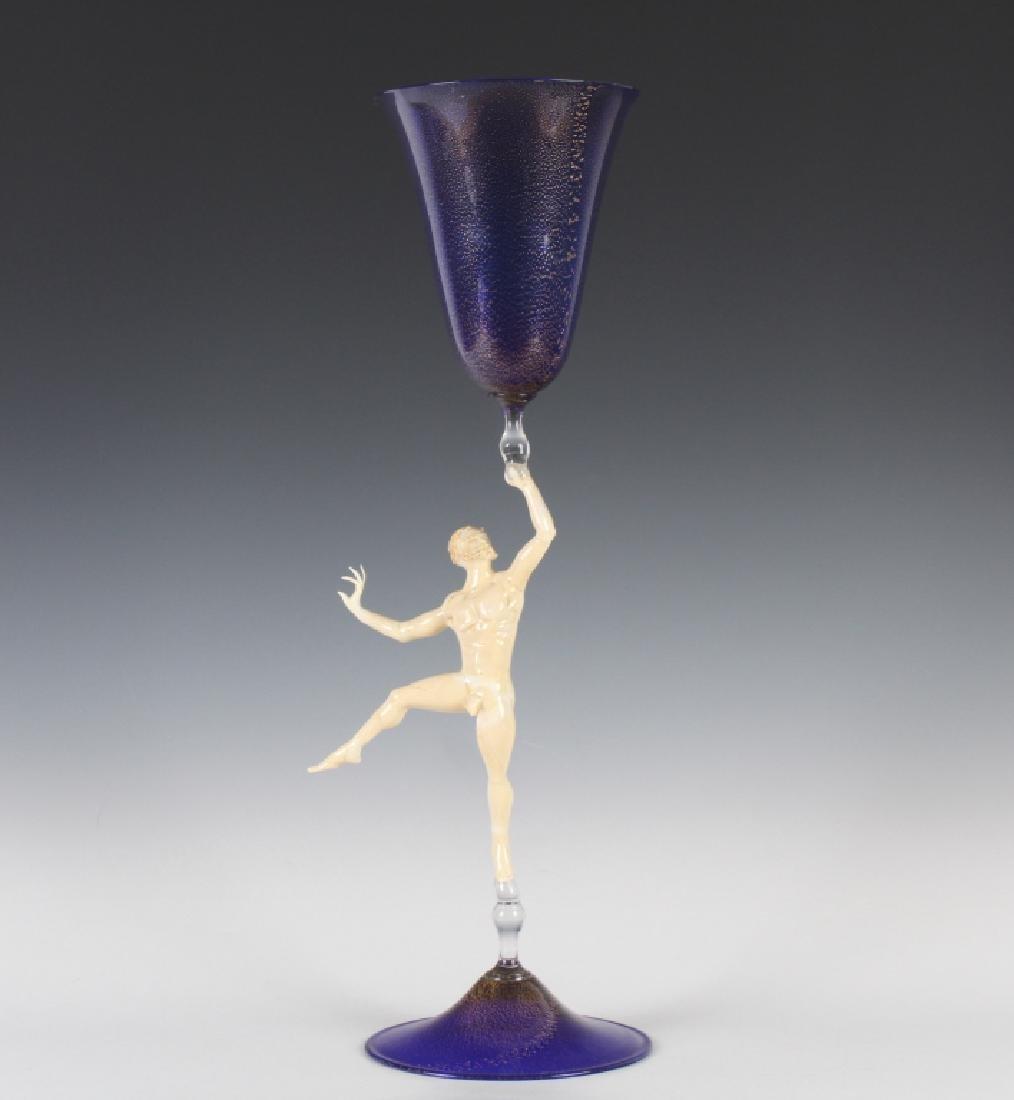 """Lucio Bubacco Venetian Murano Art Glass 18"""" Goblet"""