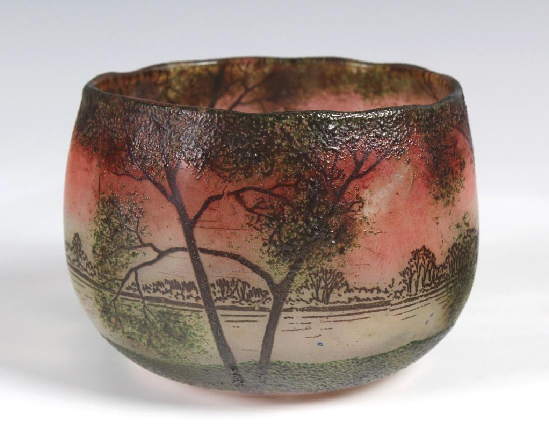 Legras French Scenic Enameled  Art Glass Bowl Vase
