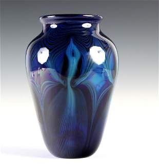 Randy Strong Studio Art Glass Pulled Feather Vase