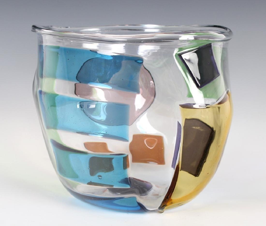 """RPM Studio SIGNED Art Glass Pezzati Bowl Vase 10"""" - 2"""