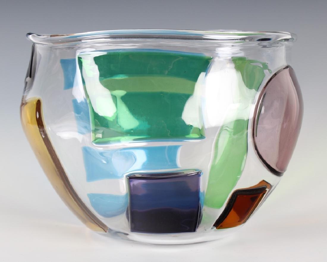 """RPM Studio SIGNED Art Glass Pezzati Bowl Vase 10"""" - 3"""