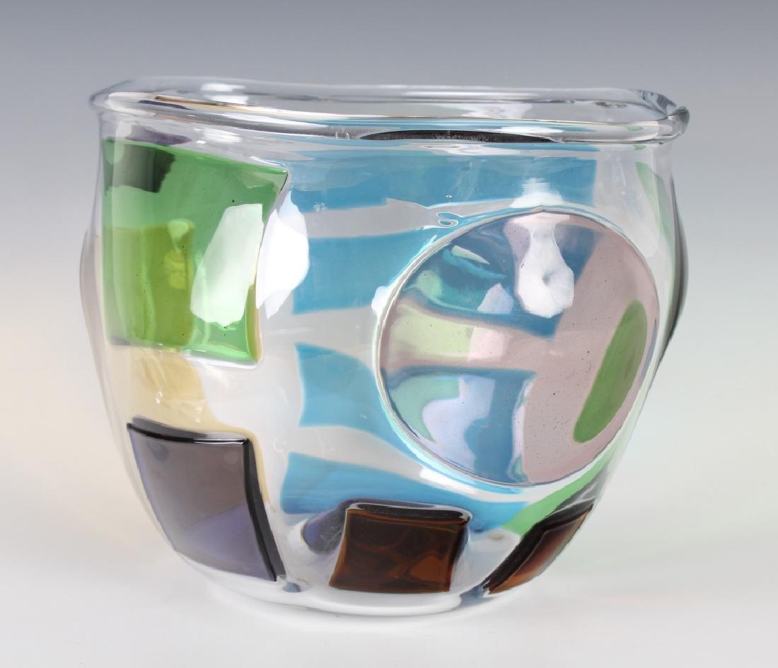 """RPM Studio SIGNED Art Glass Pezzati Bowl Vase 10"""" - 4"""