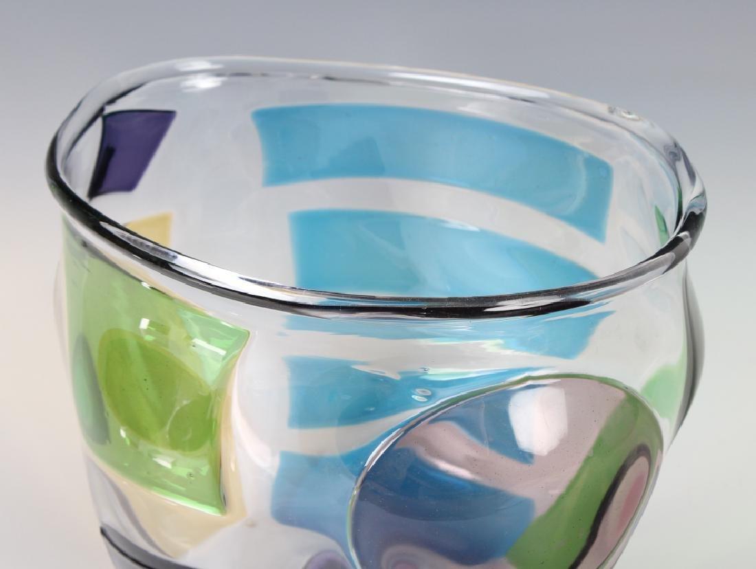 """RPM Studio SIGNED Art Glass Pezzati Bowl Vase 10"""" - 5"""