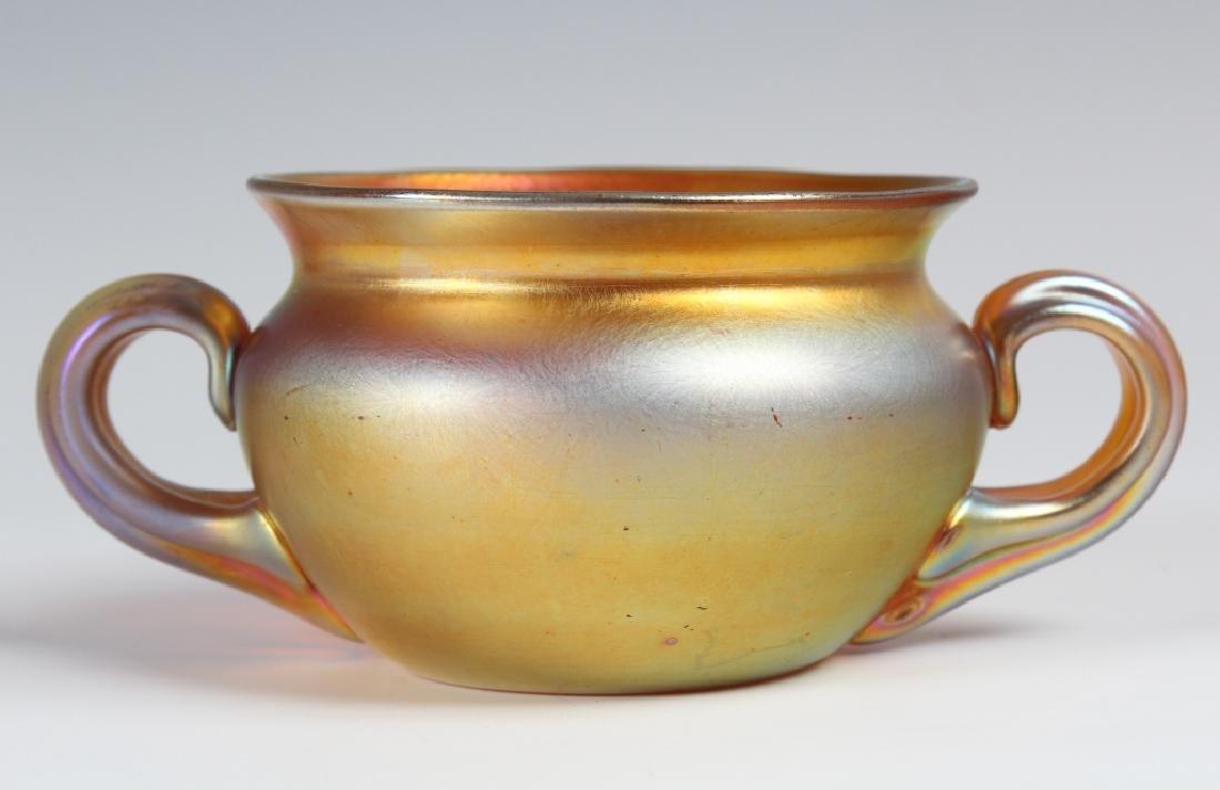 Steuben Gold Aureen Iridescent Art Glass Bowl VTG