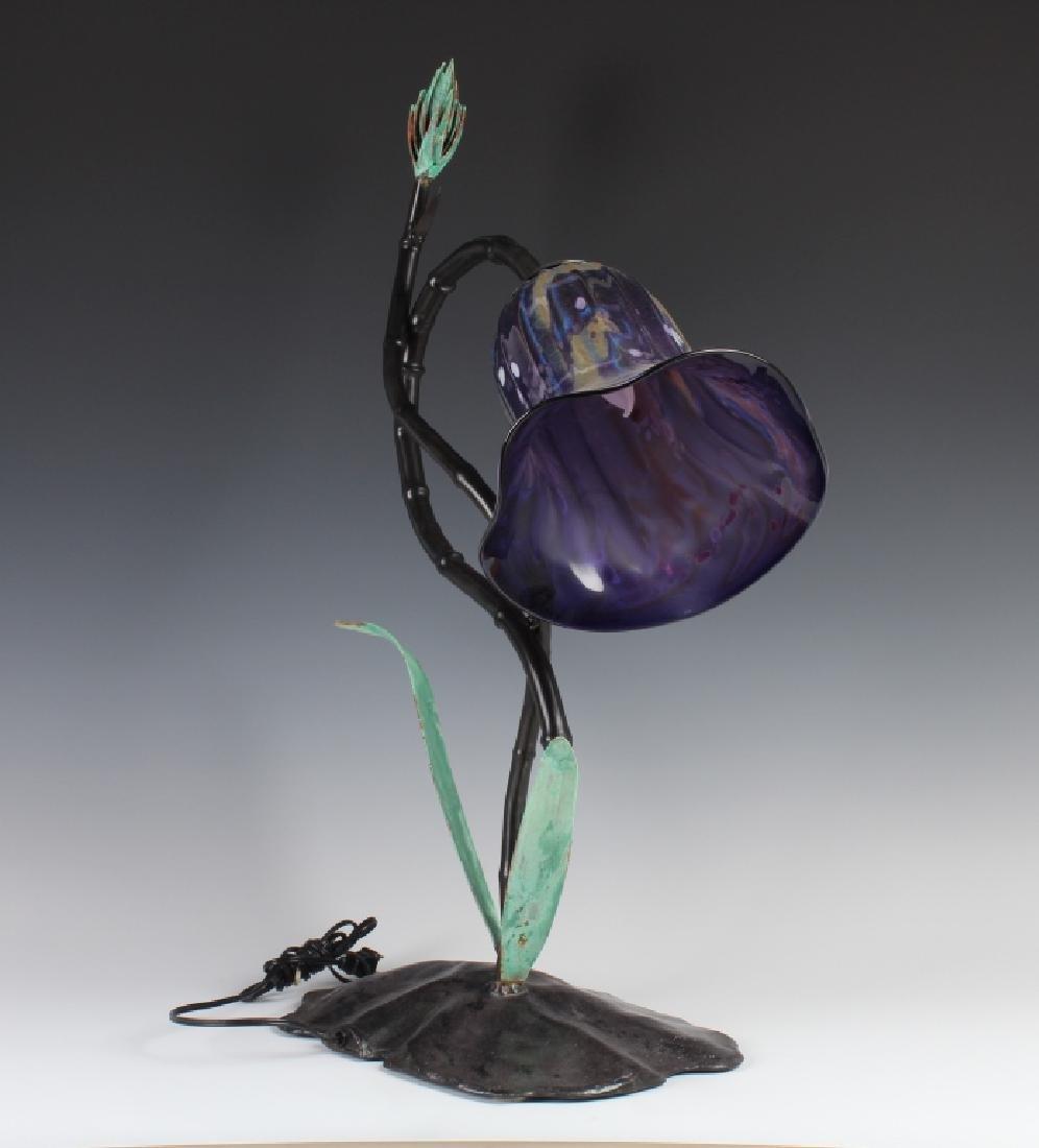 Nicholson RENEWAL Blown Art Glass Metal Table Lamp - 5