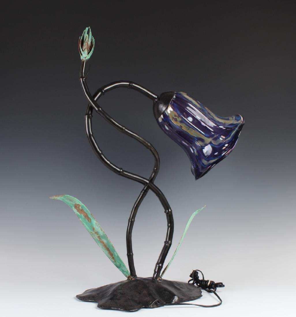 Nicholson RENEWAL Blown Art Glass Metal Table Lamp - 8