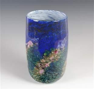 """John Fields Studio Art Glass Flower Vase 10"""" LARGE"""