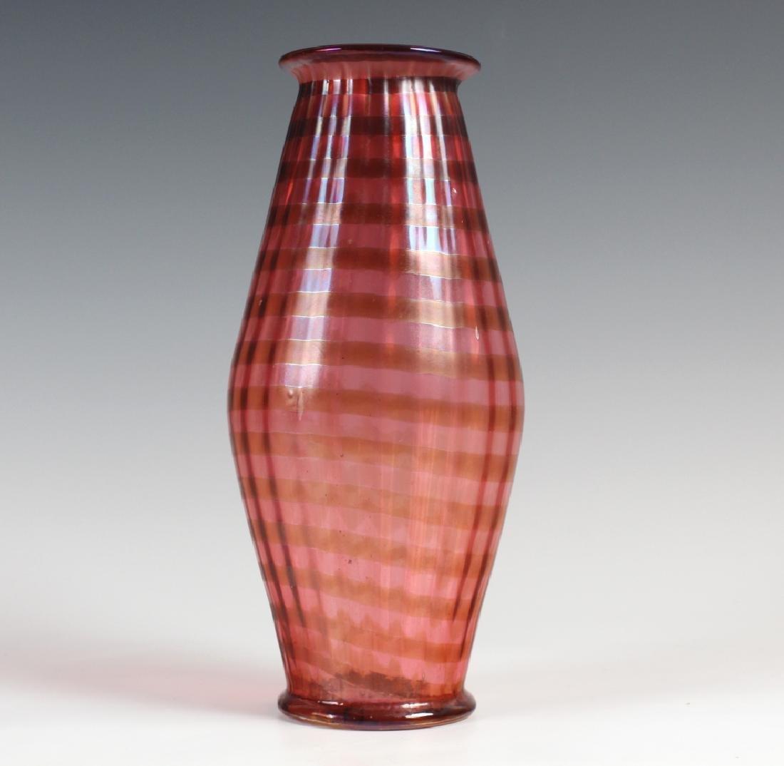 Quezal Style Studio Art Glass Striped Flower Vase