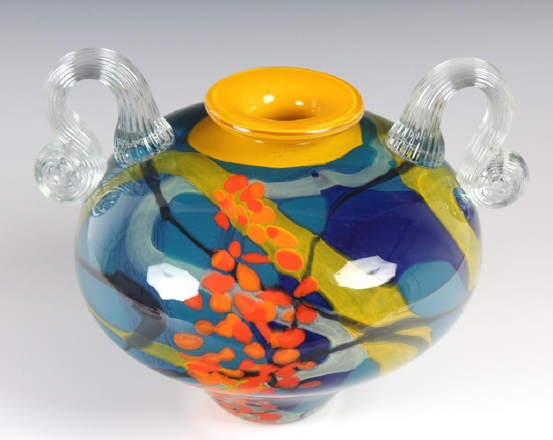 "Newt Studio Art Glass Dual Handled Vase 11"" SIGNED"